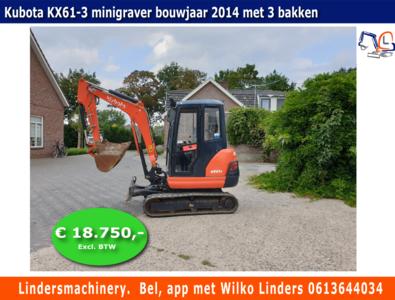 Minigraver Kubota KX61-3 bouwjaar 2014