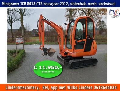 Minigraver JCB 8018 CTS bouwjaar 2012