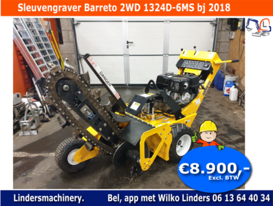 VERKOCHT Sleuvengraver Barreto 2WD 1324D-6MS