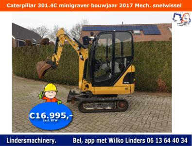 Caterpillar 301.4C minigraver bouwjaar 2017