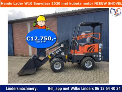 Nando Lader W10 kubota motor bouwjaar 2020 NIEUWE loader