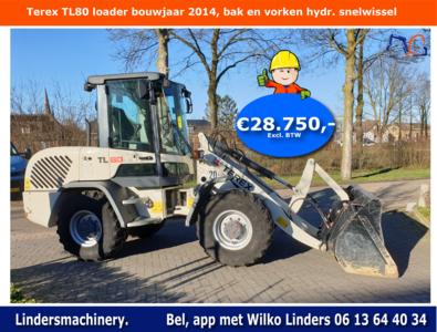 Terex TL80 loader bouwjaar 2014, bak en vorken hydr. snelwissel