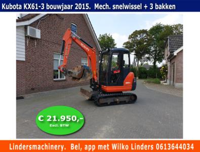Minigraver Kubota KX61-3 bouwjaar 2015