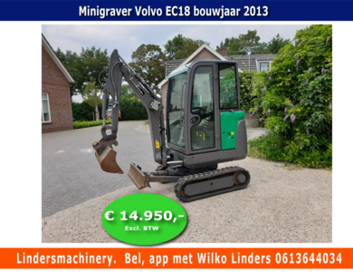 GERESERVEERD Minigraver Volvo EC18 Bouwjaar 2013